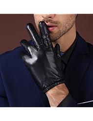 Los guantes calientes guantes y cómoda Guantes de cuero de la motocicleta de los hombres fina gamuza Guantes de invierno caliente de cuero del tacto de equitación ( Color : Negro , Tamaño : L )