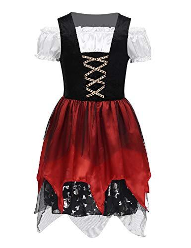 MSemis Pirat kostüm für Kinder Mädchen, Schädel Rustikale Maiden Seeräuber Kleid, Trachtenkleid Dirndl Kleid, Halloween Cosplay Verkleidung Gr. 98-140 Schwarz & Rot 98-104/3-4 Jahre (Schädel Piraten Mädchen Kostüm)