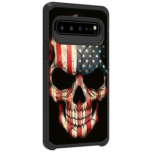 TurtleArmor Schutzhülle für Samsung Galaxy S10 5G, S10 5G, S10 G977, dünne, doppellagige TPU-Hartschale, US Flag Skull (Cricket Phones Android Cell)
