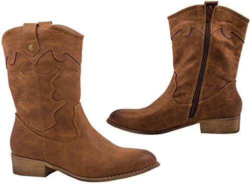 Elara Damen Cowboy Stiefel | Bequeme Lederoptik Stiefeletten | Blockabsatz Zipper | Gefüttert | chunkyrayan Camel
