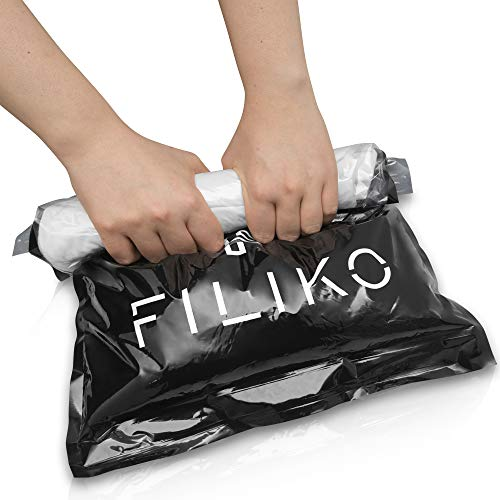FILIKO Reise Vakuumbeutel 6er Set – Der Vakuum Beutel für Kleidung – Kein Staubsauger notwendig einfach per Hand Rollen
