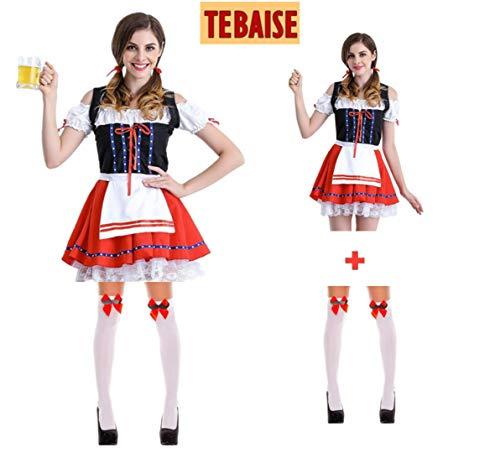 TEBAISE Oktoberfest Rot Trachtenkleid Dirndlbluse Schürze Dirndl Bluse Kleid丨3 Teiliges Trachtenkleid Set+mit Trachtenstrümpfe Bows Stockings Fancy Dress Costume Accessories(Rot,XL)