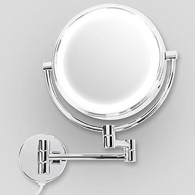 casa pura® Kosmetikspiegel für die Wandmontage | mit LED Beleuchtung | 3 hohe Vergrößerungsgrade wählbar