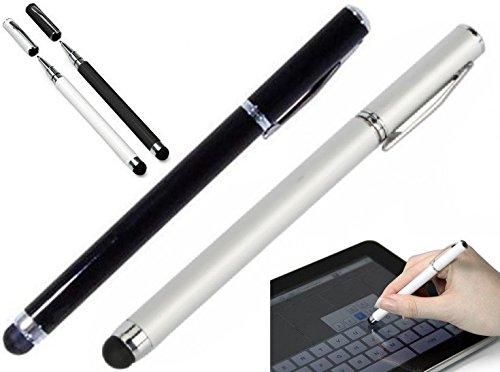 itronik 2x Stylus Soft Touchstift Pen Eingabestift mit Kugelschreiber für alle Smartphones und Tablets mit Touchscreen - 1x schwarz + 1x weiss