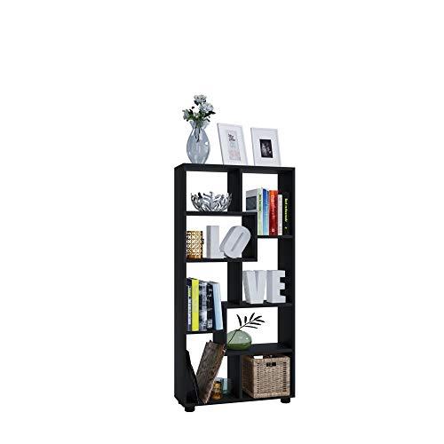 AISEN Regal PISA C mit 8 Fächern, Farbe Schwarz, Maße 60 x 116,5 x 20 cm