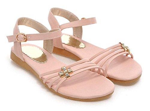 Sandales plates casual étudiante plat avec une grande cour de simples chaussures sauvages Pink