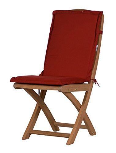 Bordeauxrote Sitzauflage für Garten-Stühle & Klappstühle, 88 x 40 cm | Premium Polster-
