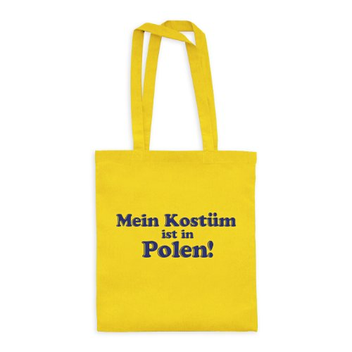 dress-puntos Baumwolltasche Mein Kostüm ist in Polen! 20drpt15-bwt00374-32 Textil yellow / Motiv violett - 42 x 38 cm (Polen Weihnachten Kostüme)