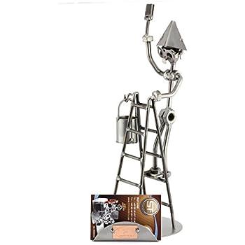Steelman24 I Figurine en m/étal Photographe 2 avec Porte-Cartes De Visite avec Plaque De Gravure I Made in Germany I Id/ées Cadeaux I Sculpture d/'Acier