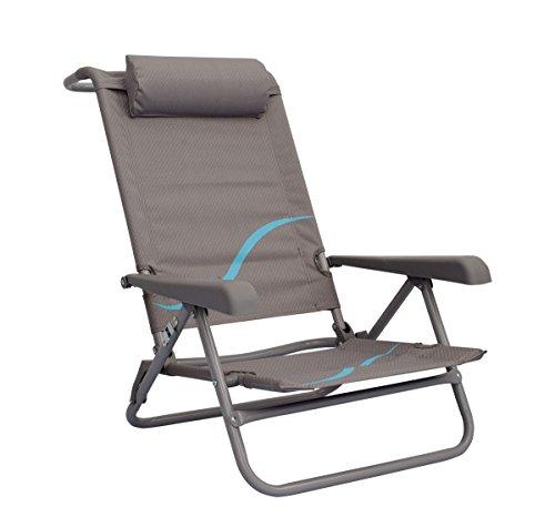 Meerweh Erwachsene Strandstuhl mit Verstellbarer Rückenlehne und Kopfpolster Klappstuhl Anglerstuhl Campingstuhl, grau/Blau, XXL