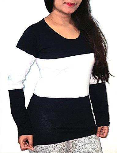 42c90c35e41 Fubura Womens Cotton Casual T-Shirts Round Neck Sports Trim Full Sleeve  with Black White ...