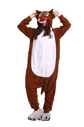 Hstyle Unisex-Erwachsene Onesies Pyjamas Halloween Cosplay Kostüme, Overalls Weihnachtsgeschenke Braune Wolf - Halloween Wolf Girl Kostüm