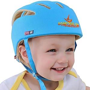 41ZuIrehanL. SS300 IULONEE casco da bambino infantili cappello di testa di cotone cappello del bambino regolabile di sicurezza casco (Blu)