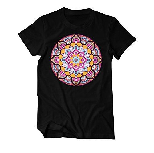 Mandala Boho Style Ornament T-Shirt Herren Schwarz