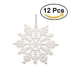 Idea Regalo - Fiocchi di neve per natale OULII Fiocchi di neve per decorazione albero di natale da appendere di 10 cm 12PCS (Bianco)