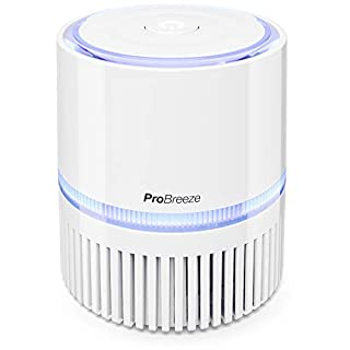 Pro Breeze® 3-in-1 Mini Air Purifier with True HEPA Filter and Ioniser, Personal Desktop Air Cleaner with Night Light For Home or Work Allergies, Smoke, Dust, Pollen and Pet Dander | USB & Mains Power