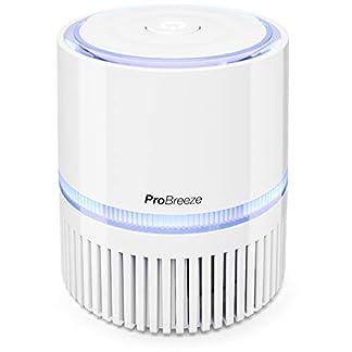 Pro Breeze Purificador de Aire Mini con Auténtico Filtro HEPA e Ionizador – Limpiador de Aire Personal de Escritorio con Luz Nocturna – para Hogar, Trabajo, Oficinas | USB y Alimentación Principal