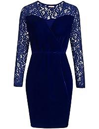 Meaneor Damen Langarm Spitzenkleid Samtkleid Velvet Kleid mit Spitze  V-Ausschnitt Abendkleid Vintage Kleid… 2b1d9a6053