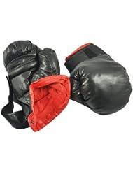 Sonline Une paire de gants de boxe pour enfants Faux cuir Noir En eponge