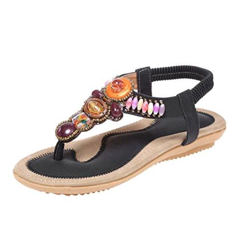 Scarpe donna estive,meibaxdonne estate boemia sandali in pelle piatto peep-toe scarpe casual sandali etnici flip-flop sandali pantofola donna estive (37, nero)
