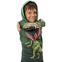 PZJ® Sudadera para Niños, Chándal Suéter, niños Camiseta de Manga Larga Para, Impresión de dinosaurio encapuchada Cuello Redondo Suéter Ropa Camisetas Casual Tops, Verde