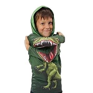 PZJ Bambini Felpa, Maglione a Manica Lunga Pullover Girocollo T-Shirts Per Bambino, Stampa dinosauro Ragazzini Outwear, verde