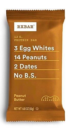 RXBAR Whole Food Protein Bar, Peanut Butter, 1.83 Ounce (Pack of 12) by RXBAR (Food Peanut Butter Bar)