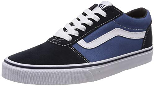 Canvas Lace Up Schuhe (Vans Herren Ward Suede/Canvas Sneaker, Blau Navy/White Mhp, 42.5 EU)