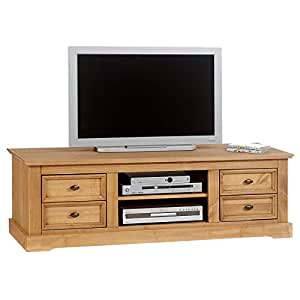 meuble tv kent en pin finition cir e 4 tiroirs 2 niches cuisine maison. Black Bedroom Furniture Sets. Home Design Ideas