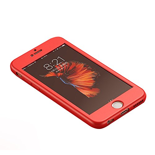 UKDANDANWEI iPhone 6 / 6s Hülle,Extrem Schlicht-Dünn-Leichte Ganzkörper-Koffer Soft TPU Cover Case & 360 Grad Schutzschild für iPhone 6 / 6s - Rot Rot