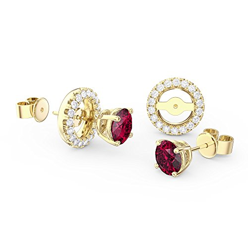 Fusion Ruby 18 ct Gold Vermeil Ohrstecker Halo Jacke Set -