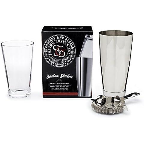 Boston shaker per cocktail e strainer–Set da cocktail, fermi e forte–Professionale Supplies–Argento Tazza e bicchiere