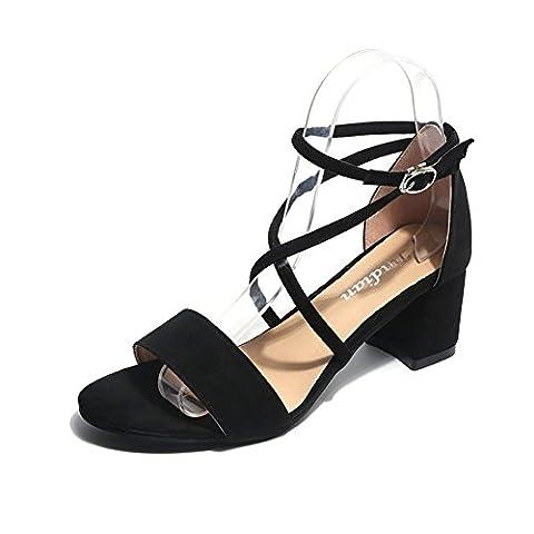 cross strap sandals,version coréenne de la simple centaine de chaussures,chaussures talon orteil-B Longueur du pied=22.3CM(8.8Inch)