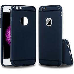 Funda iPhone 6, iPhone 6s Carcasa Silicona Gel Mate + Vidrio Templado Protector de Pantalla - Mavis's Diary Case Ultra Delgado TPU Goma Flexible Cover para iPhone 6/6s - Azul oscuro