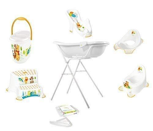 9er Set Z Disney Winnie Pooh weiß Badewanne XXL 100 cm + Badewannenständer + Badesitz + Topf + WC Aufsatz + Hocker + Windeleimer + Ablaufschlauch + Waschhandschuh