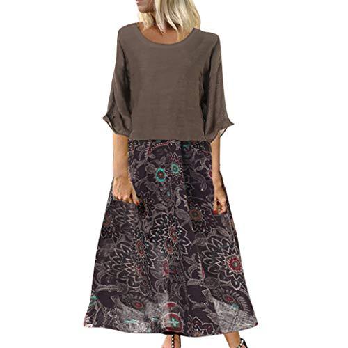 Longra Kleider Damen 2-in-1 ShirtsKleid Maxikleider Casual Sommerkleid 3/4 Ärmel Lose Blumendruck Strandkleider Langes Kleid