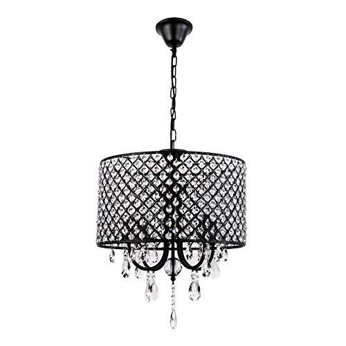 ZSYUN Kristall LED Kronleuchter LED Kristallglas Lampen for Restaurant Korridor High Power Deckenbeleuchtung E14-4 Lichter led (Farbe : Schwarz, Größe : AC 110V-Kaltes Weiß) -