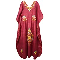 Mogul Interior Women Kimono Kaftan Silk Maroon Embroidered Designer Lounge wear One Size