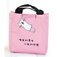 Yudanwin Leinwand-Lunch-Tasche Süßes Tier Takeaway Insulation Bag Bento Lunch Bag (Pink) - preisvergleich