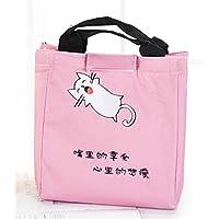 Preisvergleich für Yudanwin Leinwand-Lunch-Tasche Süßes Tier Takeaway Insulation Bag Bento Lunch Bag (Pink)
