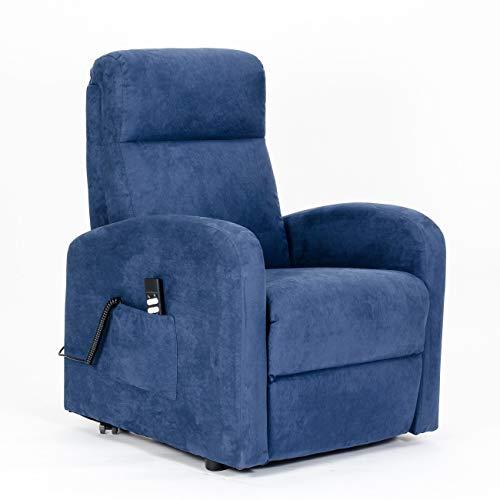 Poltrone-italia - poltrona elettrica, alzapersona reclinzione indipendente schiena/piedi, soffice, seduta indeformabile, best price 2 motori - poltrona chanel 2sia-it-bluh microfibra blu-h