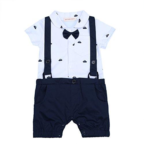 5d77a9f0790b iiniim Bébé Gentleman Costume Body Romper Garçon d honneur Mariage  Impression Combinaison Barboteuse Manches Courtes