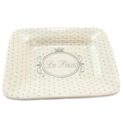 Les Trésors De Lily P5668 - Porte-savon céramique 'Le Bain' beige (rétro)