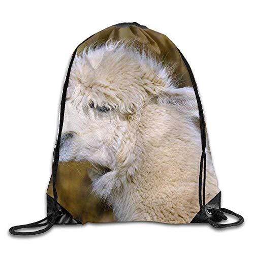 ZHIZIQIU Drawstring Bags Bulk Smile Animal of Alpaca Drawstring Backpack Bag Shoulder Bags Bag for Adult Size: 4133cm