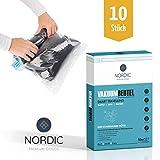 Nordic 10x Vakuumbeutel Reise Kleidung I Vakuumier Beutel Kleidung I Vakuum Kompressionsbeutel I Premium Aufbewahrungsbeutel I Vacuum Storage Bags in 3 Größen I ohne Staubsauger, einfach Rollen!