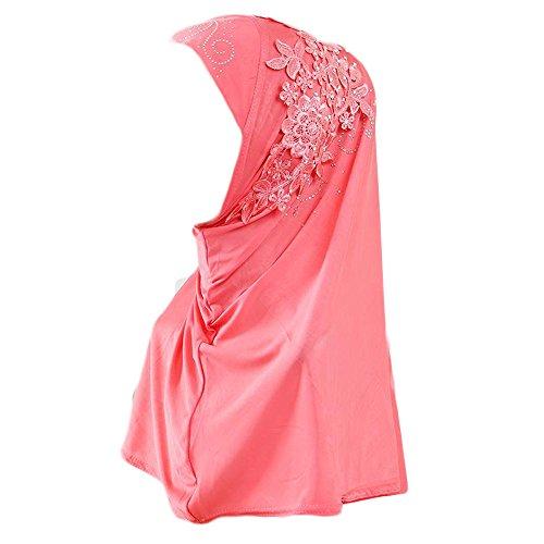 Muslim Damen Lose Spitze Kopftuch Turban Islamischen Abaya Dubai Frauen Elegante Gesichtsschleier Hidschab Schal Ramadan Kopfbedeckung Hijab Chemo Kappe (Rot)