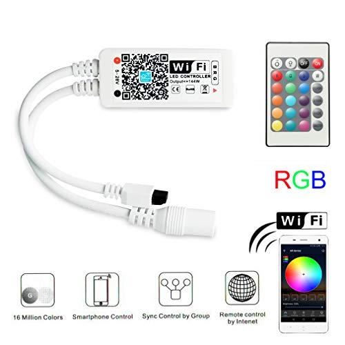 Magic Mini RGB wifi Controller für LED Strip/Streifen funktioniert mit Alexa, Google Home, IFTTT, IR Fernbedienung Steuerung, 16 Mio Farben, 20 Dynamische Modi