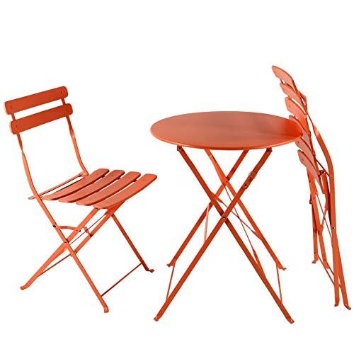 AFP Bistroset 3-teilig orange - Metallmöbel-Set Tisch rund + 2 Stühle klappbar, Balkonset, kleine Gartenmöbel Garnitur Balkonmöbel stabile Ausführung, farbig -