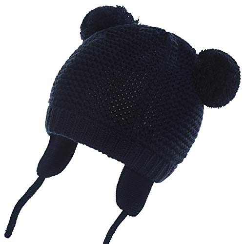 WELROG Unisex - Baby Mütze Beanie Strickmütze Kleinkind Warm Mütze Hut Winter Earflap (Navy blau, 0-7 Monate (35.5-42.9cm) / S)
