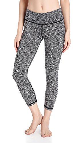 DeepTwist Damen Yogahose 3/4 Workout Capri Tummy Control Leggings Strumpfhosen Fitness Hose mit Tasche, UK-DT4003-Light Gray-8 (Plus Größe-strumpfhosen Control Top)